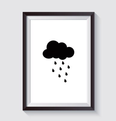 cloud with rain - print