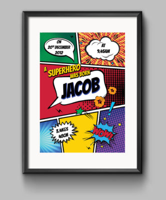 Birth Announcement Print - Comic Book Superhero Style - Blue