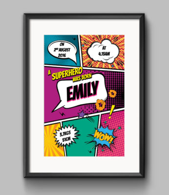 Birth Announcement Print - Comic Book Superhero - Pink