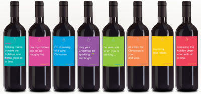 Novelty Christmas Wine Label Set